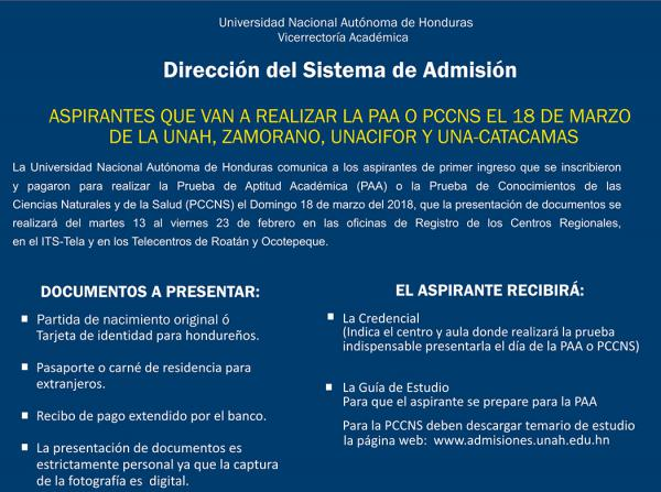 ENTREGA DOCUMENTOS PAA 2018